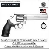 Révolver-Smith-et-Wesson-Calibre-38-357-magnum-686-inox-Canon-6-pouces -Catégorie B1-Autorisation-Préfecture-Promotion-Ref 765325