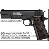 "Pistolet  type Colt 1911- SWISS ARMS-semi-auto- Cal. 4,5 mm-CO2.""Promotion""--VENTE LIBRE--Ref 17797"