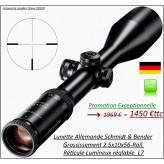 Lunette-SCHMIDT & BENDER-Klassic -Grossissement-2.5x10x56 LMS-Réticule lumineux-L7-Rail standard-Promotion-Ref 25762