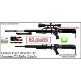 """Carabine-air comprimé-PCP- GUN POWER-SSS-Cal 5.5m/m-Puissance  80 joules-Tirs longues distances- Kit bouteille_Bi-pied-Silencieux-Promotion""""-Ref  powergun-sss"""