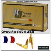 Cartouches-calibre-8x50R-LEBEL-Modèle D-1886-12.6 grammes-FMJ-Pour armes anciennes-Ref Sol-8x50R-lebel