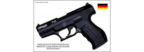 Pistolet-alarme -Umarex-Walther- P99-blanc et gaz lacry- Cal. 9 mm blanc-Ref 1028