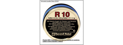 Plombs -RWS- R 10 Match-de Compétition-carabines et pistolets  -Cal 4.5mm -Air comprimé  - par 500 -Tête plate. Ref 10479