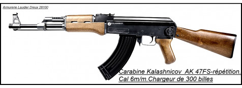 "Fusil d'assaut-KALASHNIKOV-AK 47-FS-ressort -- Billes 6 m/m.Cybergun-""Promotion"".Ref 13834."