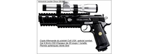 PISTOLET Umarex COLT SPÉCIAL COMBAT XTREME + lunette Walther 2X20 type inox. Cal 4,5mm.CO2- 20 coups .Ref 14221