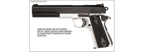"Pistolet à ressort Type Colt 1911 .Cal. 6 mm, simple action, chargeur 14 billes.""Promotion"".Ref 14245"