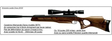 """Carabine  DIANA air comprimé- 56 TH-Cal 4.5mm-Allemande-Détente match- Armement latéral- Avec ou sans lunette- 30 joules""""'Promotions""""."""