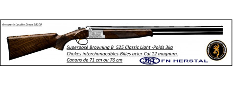 Superposé-Browning-B525-Classic-New-Light -Hunter-Calibre 12 Magnum-Canon 71 cm-Ref 14775