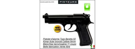 """Pistolet -alarme -Kimar- à blanc /gaz-Type Beretta 92- Bronzé -Cal. 9 m/m-""""Promotion""""-Ref 1479"""