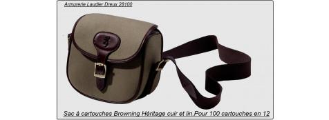 Sac à cartouches-Browning-Héritage- en cuir et coton canvas- Ref 14972