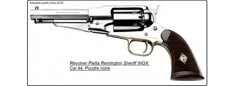 """Révolver """"PIETTA"""" poudre noire.1858 Remington SHERIFF'S.INOX Cal 44.""""Promotion"""".Ref 16637"""