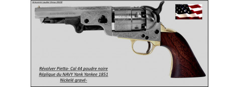 Révolver- Pietta-1851 NAVY-Yank-Yankee - nickelé-Gravé-Cal 44- poudre noire-Ref 16642
