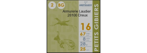 """Cartouches de chasse-- Unifrance--""""Petits Gibiers"""".--Cal 16/67--.Bourres grasse.28 gr.Plombs n° 5-6-7,5-8."""