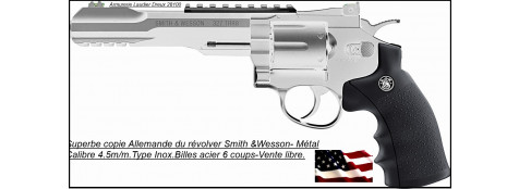 Revolver-Smith &Wesson-Umarex-CO2 Cal. 4,5 mm-couleur inox  Barillet 6 coups-Billes métal  Métallique- Promotion-Ref 17288