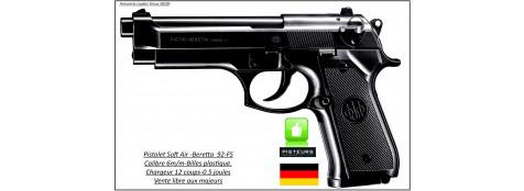 Pistolet-Beretta-92 FS-Umarex-Cal 6mm-Soft air-Culasse métal-0,5joules-12 coups-Ref 18578