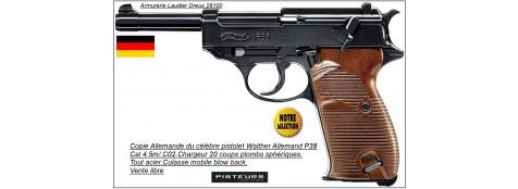 """Pistolet Umarex Allemand CO2 Walther P38.Cal 4.5mm. Billes d'acier 20 coups.""""PROMOTION"""".Ref 18626"""