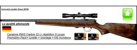 """Carabine- RWS-Cal 22Lr-Répétition-Allemande - Chargeur 5 coups.""""Pack Promotion-Lunette-Montage -Munitions""""-Ref 18637"""