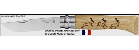 Couteau-OPINEL-Gamme Animalia- Gravures Cerf- Ref 18697