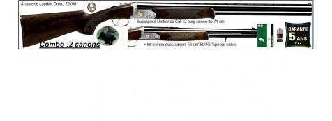 Superposé Unifrance LINCOLN.Cal 12 mag. Kit combo avec 2 canons 71 cm +canon 56 cm SLUG spécial balles.Ref 19356