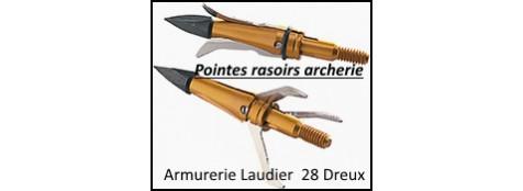 Pointes rasoirs- avec système à expansion utilisant les lames de Diamize ultra pointues pour flèches d'arc ou arbalète--Blister de 3-Ref 19551