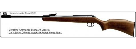 """Carabine DIANA air comprimé 34 Classic-Cal 4.5mm- Visée à fibre optique Truglo®- 19 joules-""""Promotion"""" -Ref 20305"""