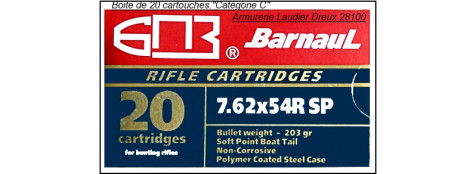 Cartouches BARNAUL 7.62x54R. Boite de 20-Ref 20312