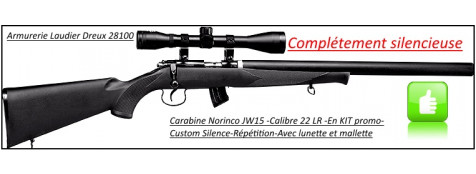 """Carabine-Norinco-Jw15-Customisée-Mk3-Cal 22 LR-Crosse synthétique-Complètement silencieuse -Avec lunette 4 x 32+ mallette-""""Promotion"""".Ref 20484"""