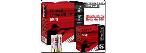 Balles- GECO- Coated-Cal 12- Compétition Slug --Boite de 100-Ref 20672