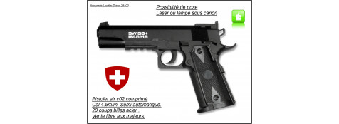"Pistolet-Swiss arm-PT 1911-Match-Semi auto C02-  Cal 4,5mm- 20 coups -""Promotion""-Ref 20707"