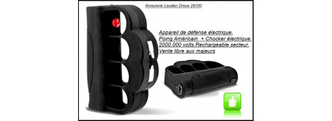 Appareil de défense électrique . Poing Américain+ chocker 2 000 000 volts- Rechargeable sur secteur .Ref 21094