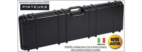 Mallette-voyage-carabines-ou-fusils-2 ou 3-armes longues- (Avec ou sans lunette)- Système trolley avec poignée et roulettes -Ref 21517