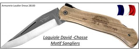 Laguiole chasse-CUBE- Genes DAVID-Véritable laguiole-olivier-Lame 10 cm-Gravure sangliers-Ref 21966