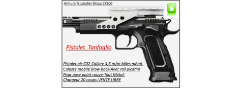 "Pistolet -Tanfoglio- Gold custom-CO2-Cal 4.5mm-Semi auto- Billes d'acier-20 coups-Carcasse métal-Culasse mobile Blow Back-""PROMOTION""-Ref 22566"