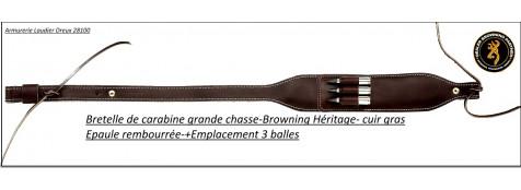 Bretelle-Browning- Héritage cuir - Carabine -avec-cartouchière-trois-tubes balles-Épaule rembourrée-Ref 22823