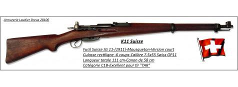 """Fusil Suisse  -SCHMIDT RUBIN-K11-modèle COURT-1911-D'époque- répétition 6 coups -Calibre 7,5 x 55 Swiss -Finition  Très BON-""""Promotion""""-Ref 23208"""