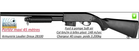 Fusil-pompe-répétition-Shot Gun-Swiss arms- ressort-tout métal- Cal. 6 mm- Chargeur 40 billes-Ref 23237