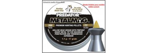 Plombs-air comprimé-Prédator-POLYMAG - Cal 5,50 m/m-Tête: Pointe jaune métal- Type: Carabine- Poids 1,10 gramme-Boite de 200-Ref 23261