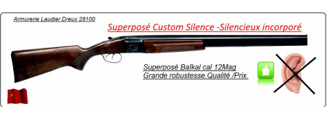 Superposé-Baïkal-IJ 27-MP-Calibre 12 magnum-Custom Silence-Extracteur-Double détentes-Promotion-Ref 23450