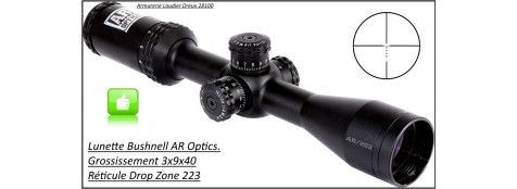 "Lunette-Bushnell-AR Optics-Grossissement 3x9x40-Réticule DROP ZONE 223- BDC -""Promotion""-Ref 24361"