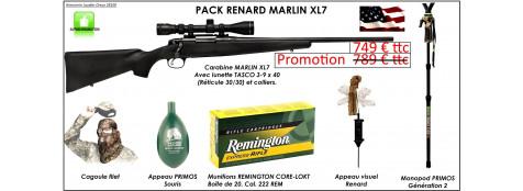 """Carabine Marlin-Mod. XL 7-Cal 222 Rem-Kit Pack Renard+ Avec  KIT Lunette 3x9x40+ montage+Munitions+Cagoule+ Appeaux renard-""""Promotion""""Ref 24388"""