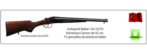 Juxtaposé Baïkal IZH 43 -Cal 12/70-Canons de 51 cm-Tir grenailles  et balles-Ref 24407