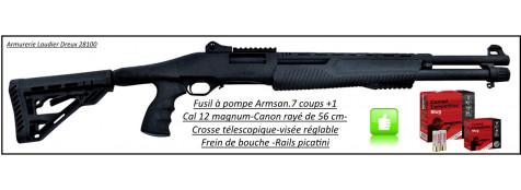 """Fusil à pompe- Armsan-RS X2- Bronzé -Cal. 12 Magnum-Crosse Synthétique télescopique-Canon rayé 56 cm-Frein de bouche-""""Promotion""""-Ref 24471"""