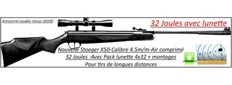 Carabine-air comprimé-Stoeger-X50-Calibre 4.5m/m-Crosse synthétique-32 joules-+kit lunette 4x32-Tirs longues distances-Promotion-Ref 24602