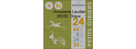 "Cartouches de chasse-- Unifrance--""Petits Gibiers"".--Cal 24/65--.Bourres Jupe.24 gr.Plomb n° 4-6-7,5."
