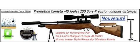 """Carabine air comprimé-PCP- Cometa-ORION-Cal 5.5m/m-Puissance  40 joules-Tirs longues distances-Crosse-bois-busc réglable .Kit complet-Promotion""""-Ref 25320"""