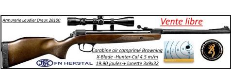 Carabine-air comprimé-Browning -X Blade-Hunter -Calibre 4.5m/m-Crosse bois-19.90 joules-+kit- Pack- lunette Lynx Unifrance-3x9x32- +Arrêtoir-Promotion-Ref 25349