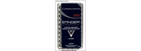 Cartouches-CCI-STINGER-HP-Cal-22 Lr-Bte de 50-vitesse-500-m/sec-Promotion- Ref 2613