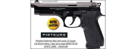 """Pistolet-alarme-Ekol- Semi auto -Firat-magnum-à blanc /gaz-Type Beretta 92- Bronzé -Cal. 9 m/m-""""Promotion""""-Ref 26879"""