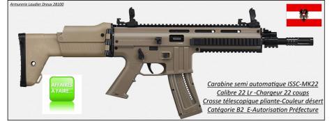 Carabine-ISSC-Austria-Modèle MK 22-commando-Désert-Semi-automatique-Autriche-Calibre 22 LR-22 coups-Catégorie B2-E-Ref 27077
