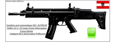 Carabine-ISSC-Austria-Modèle MK 22-commando-Noire-Semi-automatique-Autriche-Calibre 22 LR-22 coups-Catégorie B2-E-Ref 27078